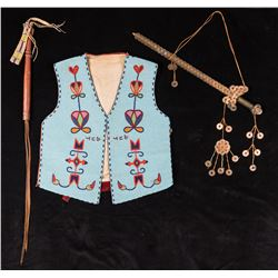 Historic Collection: Blackfoot Vest, Lakota Quirt, Chinese Coin Scepter