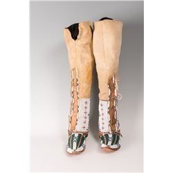 "Cheyenne Beaded Woman's Hightop Moccasins, 21"" tall"