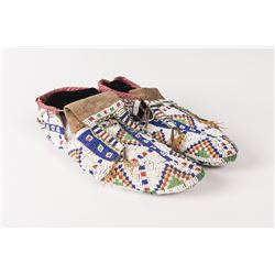 """Northern Plains Beaded Man's Ceremonial Moccasins, 11"""" long"""