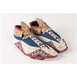 """Sioux Beaded Man's Ceremonial Moccasins, 10"""""""