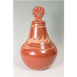 Santa Clara Pueblo Lidded Jar by Gilbert Olivas