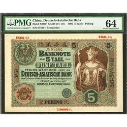 Deutsch-Asiatische Bank, 1907  Peking  Branch High Grade Rarity.