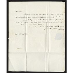 Aaron Burr Autographed and Fee Franked Letter dated March 19, 1804.