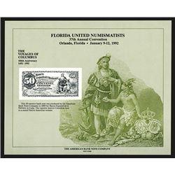Souvenir Card. Florida United Numismatists. 1992.