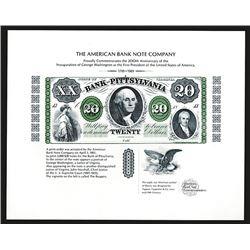 Souvenir Card. Washington's Inauguration, 200th Anniversary. 1989.