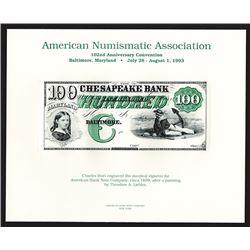 Souvenir Card. American Numismatic Association. Summer 1993.