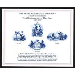Souvenir Card. New Jersey, Pennsylvania, Delaware; 200th Anniversary of Statehood. 1987.