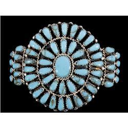 Zuni Petit Point Turquoise & Sterling Bracelet