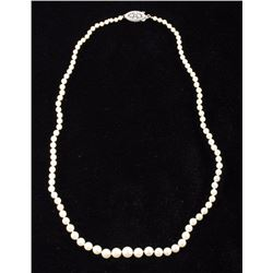 Antique Graduating Pearl & Sterling Necklace