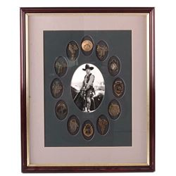 Framed Old Western Watch Fob Collection