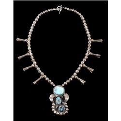 Navajo Old Pawn Silver & Turquoise Necklace