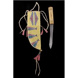 Sioux Beaded Sheath Russell Trade Knife 19th C.