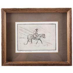 Original Ace Powell Cowboy on Horseback Etching