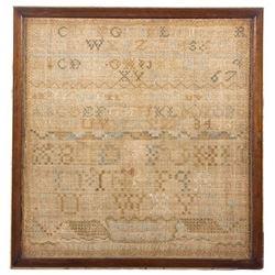 Early Alphabet Sampler Rhode Island Dated 1795
