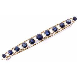 Antique 14K Gold & 2ct Blue Sapphire Brooch