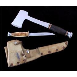 KA-BAR Knife & Hatchet with Elk Hide Scabbard