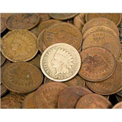 200 Indian Head Pennies- Circulated-