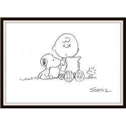 CHARLES SCHULZ: SNOOPY, CHARLIE BROWN AND WOODSTOCK.