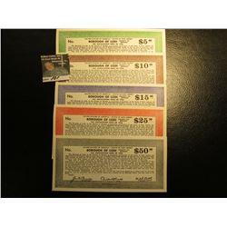 "Depression Scrip: $5, $10, $15, $25, & $50 ""United States of America - State of New Jersey Borough o"