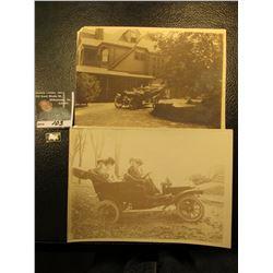 """(2) Different 5"""" x 7"""" black & white photos of Antique Automobiles; & """"1900 De Dion Bouton"""" Sterling"""