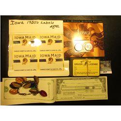 "1920 era ""Iowa Maid Brand Charles Hewitt & Sons Co. Des Moines"" Labels; Iowa 2004 P & D Quarter Set"