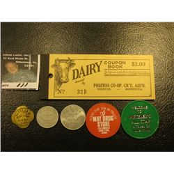 """Full """"Dairy Coupon Book…Fosston Co-op., CR'Y. Ass'n. Fosston, Minnesota""""; & (5) Different Iowa Good"""