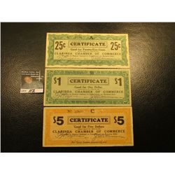 April 10th, 1933 Clarinda, Iowa Depression Scrip Three-piece Set.  MS #:  IA220-.25A, 1, &  5A. Each