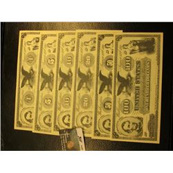 """August 10th, 1861 $1, $5, $10, $20, $50, & $100 Movie Scrip Bank Notes, """"American Bank Note Co. New"""