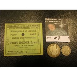 """1907 """"Agent's Stub Not Good For Passage Issued by Chicago Rock Island & Pacific Rail Way Minneapolis"""
