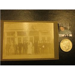 """Old Black and White Photo """"Fred Meyer Little Mint Saloon"""" (Davenport, Iowa); & 1922 S U.S. Peace Sil"""