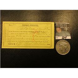 "Nov. 9th, 1882 Oskaloosa, Iowa Time Check for a Foreman on the ""Chicago, Burlington, & Pacific R.R."""