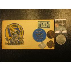 "1846 1946 ""Iowa Centennial"" Cover with Iowa Statehood Centennial 3c Stamp; & (5) different Iowa Good"