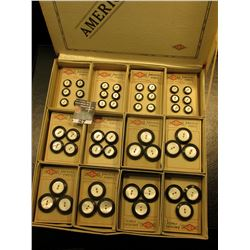 """""""S.B. Co. America's Finest"""" Original box with a large group of Carded Abalone buttons with black out"""