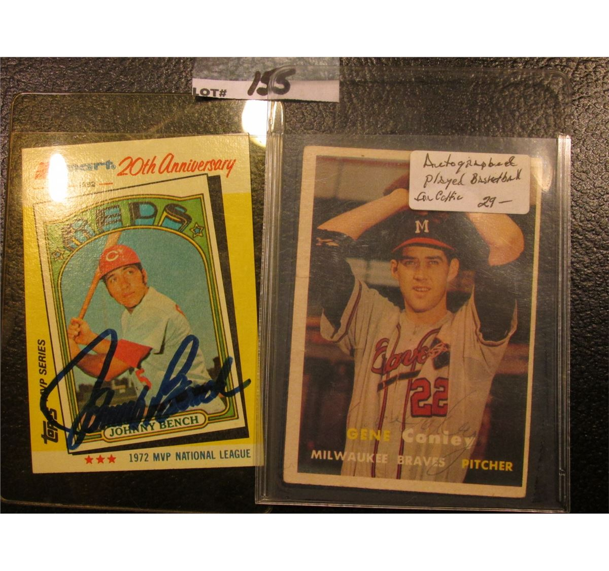 1982 Topps Johnny Bench Mvp Kmart 20th Anniversary Card With Original Autograph Gene Conley