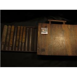 Wooden Coin Sorting case in rough condition with sliding door containinga huge assortment of Brazili