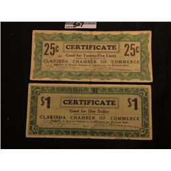 April 10th, 1933 Clarinda, Iowa Depression Scrip Two-piece Set.  MS #:  IA220-.25A & 1. Each measure
