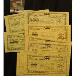 A large group of 1961 Moor Man's Advertising Gift Coupons, various denominations.