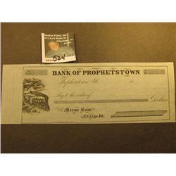 Blank 1850 era Check  Bank of Prophetstown Prophetstown, Ills.  drawn from  Marine Bank Chicago, Ill