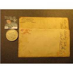 Pair of 1910 era envelopes  Lee C. Irish Co. Cash Grocery Toledo, Iowa  with receipts; & 1922 D U.S.