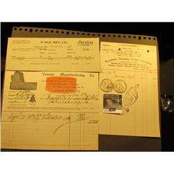 1925 Invoice  W-M-P Mfg. Co. Lohrville, Iowa ; 1906  Excelsior Thresher Tooth Company Dexter, Iowa ;