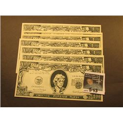(7) Satirical $100 Chicago Pension Funds City of Chicago Bank notes, signed by Ronald Reaganomics. '