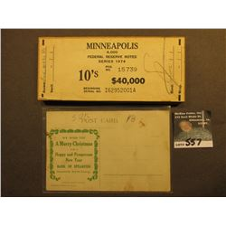 "Merry Christmas Post card Spearfish, South Dakota; & Plywood holder for ""Minneapolis 4,000 Federal R"