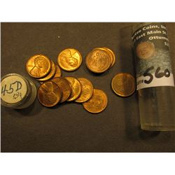 (13) 1945 D Uncirculated Lincoln Cents in a Plastic tube.