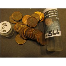 (23) 1952 D AU to Uncirculated Lincoln Cents in a Plastic tube.