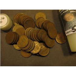 (51) 1916 D Lincoln Cents in a plastic tube. Average circulated.