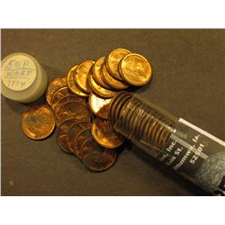 1950 P Uncirculated Roll of Lincoln Cents in a plastic tube. Lots of spotted coins in this roll, too
