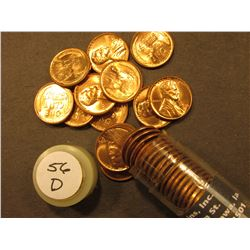 1956 D Uncirculated Roll of Lincoln Cents in a plastic tube.