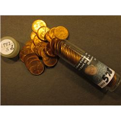 1947 S Uncirculated Roll of Lincoln Cents in a plastic tube. Maybe missing one coin.