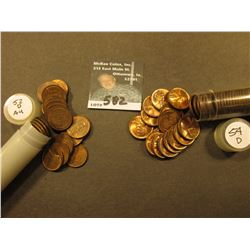 1952 D & 54 D AU to Uncirculated Rolls of Lincoln Cents in a Plastic tube. (2 rolls).