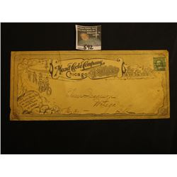 "Fully decorated Business Envelope with One Cent Green George Washington Stamp ""Mead Cycle Company Bi"